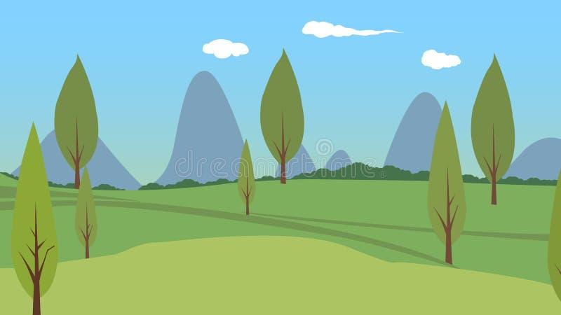 Matière de base en bois, matière de base de prairie, ciel bleu, nuages blancs illustration libre de droits