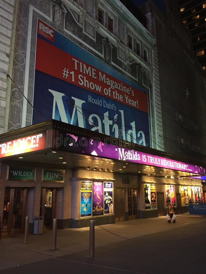 Matilda au théâtre de Shubert, New York City, NY photos libres de droits