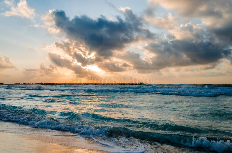 Matin à la plage de Cancun photographie stock libre de droits