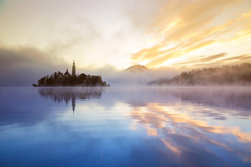 Matin brumeux dans le lac saigné photos libres de droits