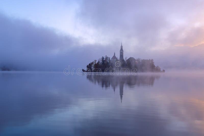 Matin brumeux dans le lac saigné images stock