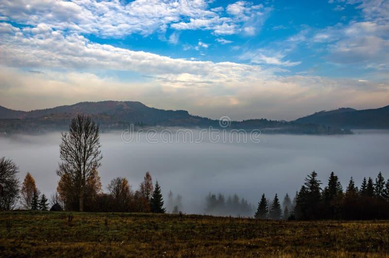 Matin brumeux dans les montagnes carpathiennes ukrainiennes pendant la saison d'automne photographie stock libre de droits