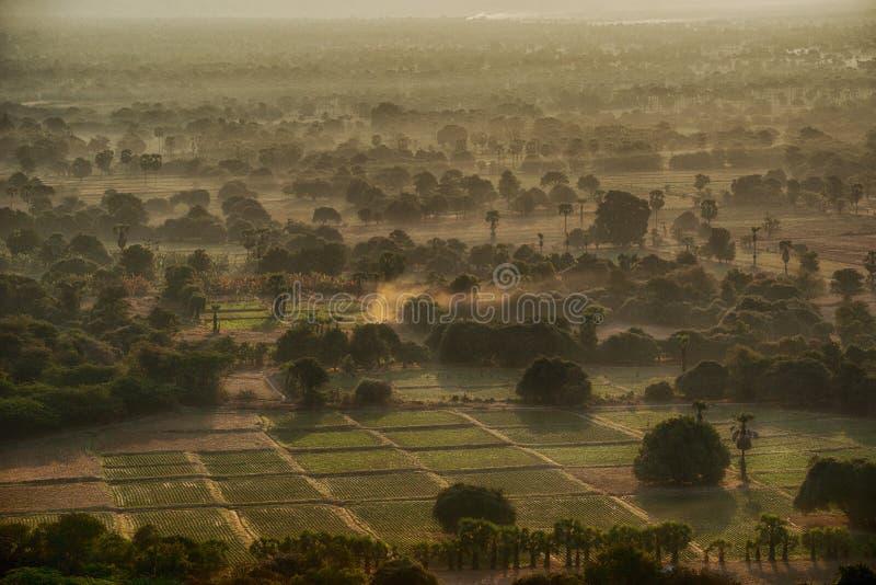 Matin brumeux de soleil de Mynamar Bagan image libre de droits