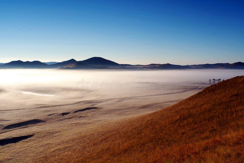 matin de brouillard de prairie de bashang d'automne photos libres de droits