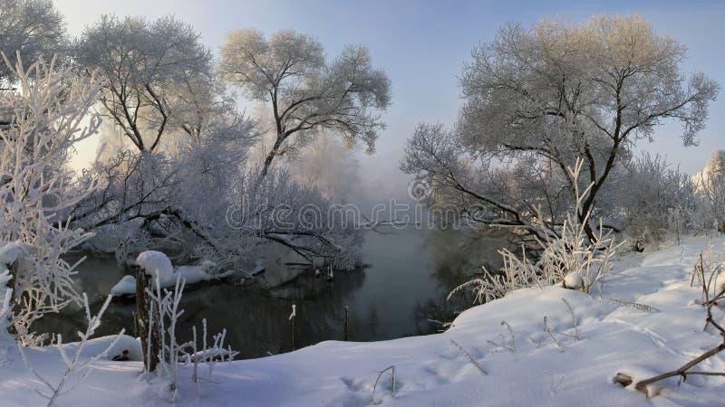 Matin de rivière d'hiver, brumeux et givré image stock