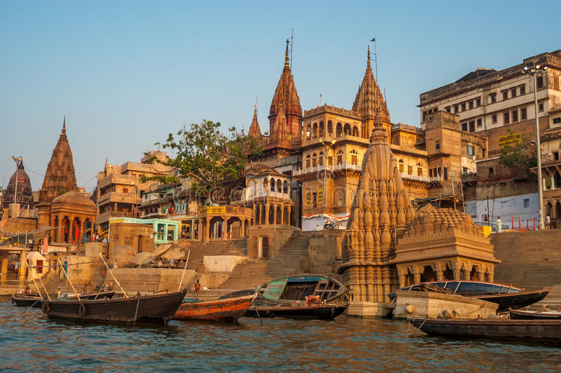 Matin de Varanasi photo stock