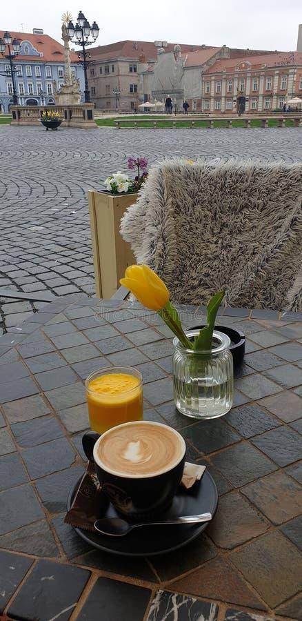 Matin de week-end de ressort dans Timisoara Roumanie à un endroit de café dans la place des syndicats de place d'Unirii images stock