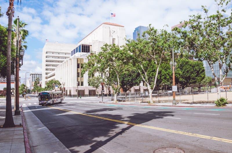 Matin pittoresque Los Angeles Transport en commun à Main Street image stock