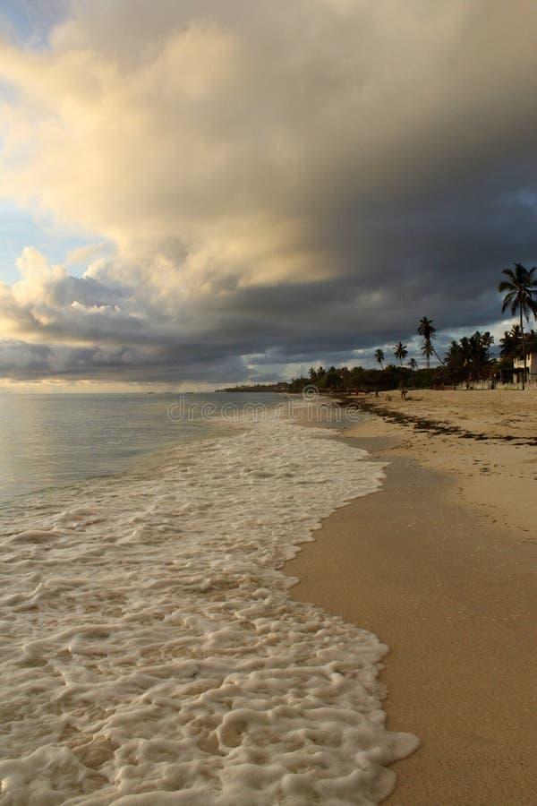 Matin tropical exotique d'été de plage à Zanzibar photo libre de droits