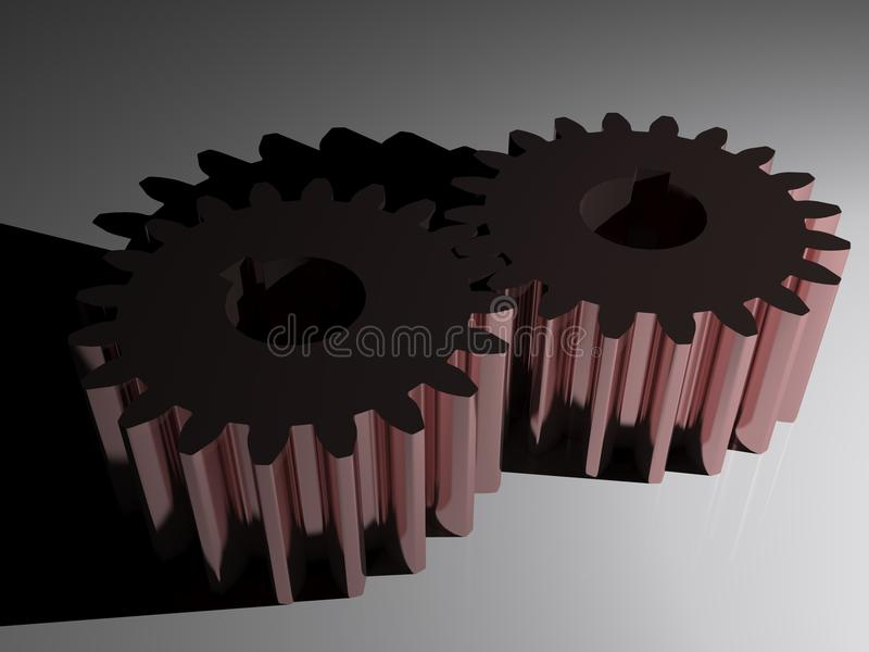 Mating gears in framing steel. A couple of mating gears in framing steel stock illustration
