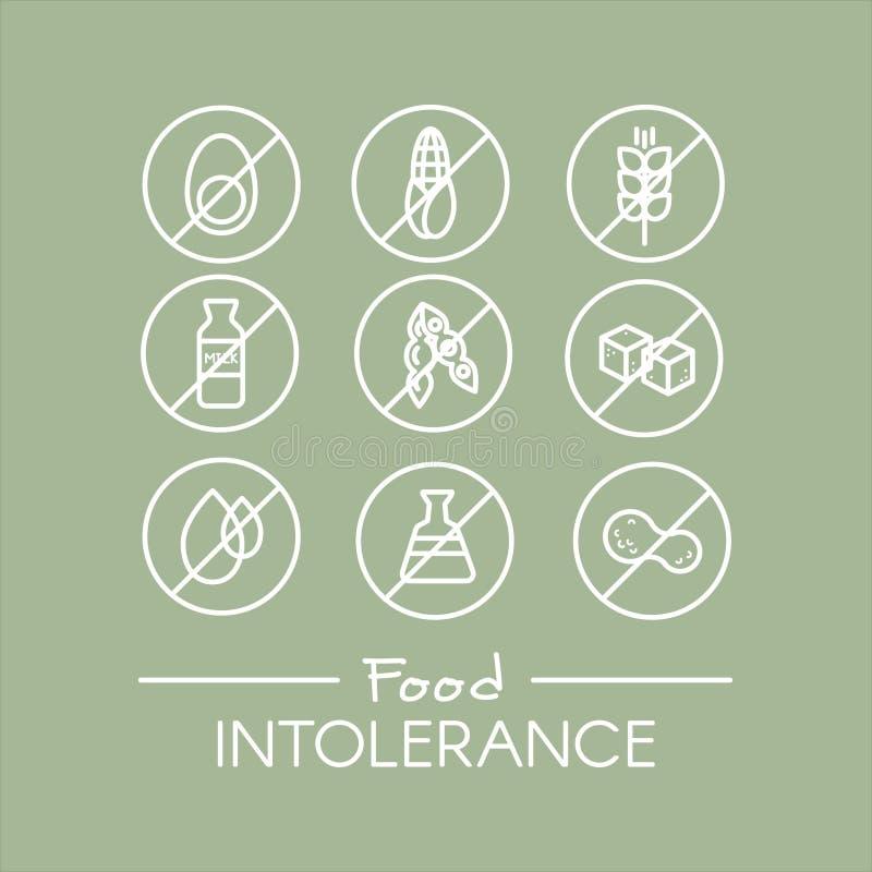 Matintolerans uppsättning stock illustrationer