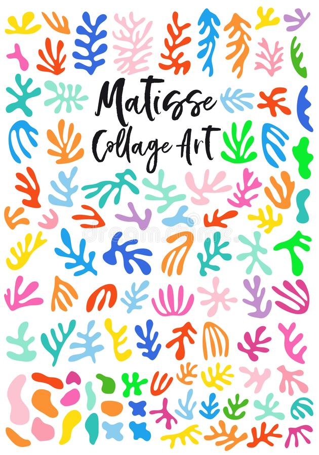 Matisse style collage art, vector graphic design elements. Matisse style collage art, abstract floral cutout shapes, set of vector graphic design elements royalty free illustration