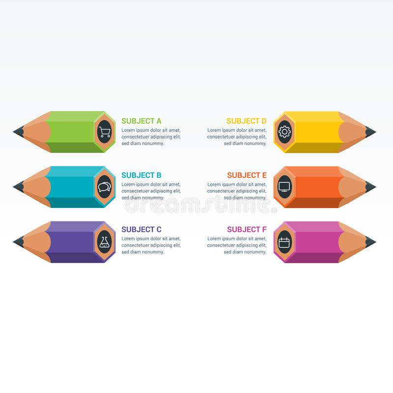 Matita Colourful di Infographics degli elementi di istruzione illustrazione di stock