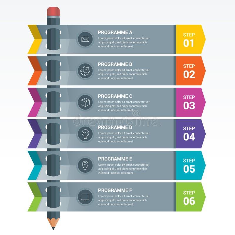 Matita Colourful di Infographics degli elementi di istruzione illustrazione vettoriale