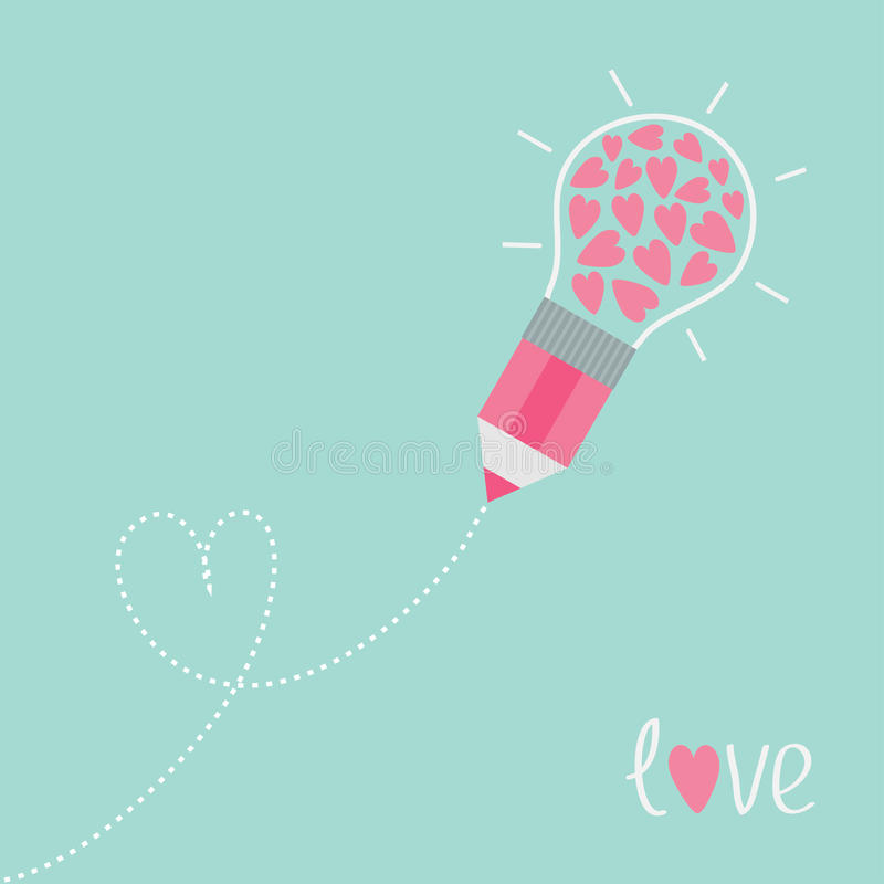 Matita con la lampadina ed i cuori Linea cuore del un poco illustrazione di stock