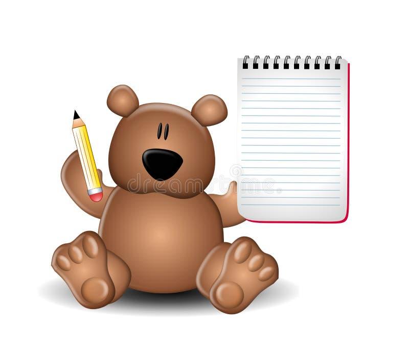 Matita del blocchetto per appunti della holding dell'orso dell'orsacchiotto royalty illustrazione gratis