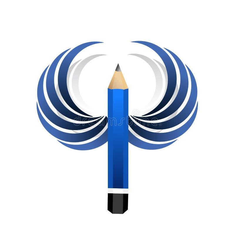 matita dell'artista ed ali blu Isolato illustrazione di stock