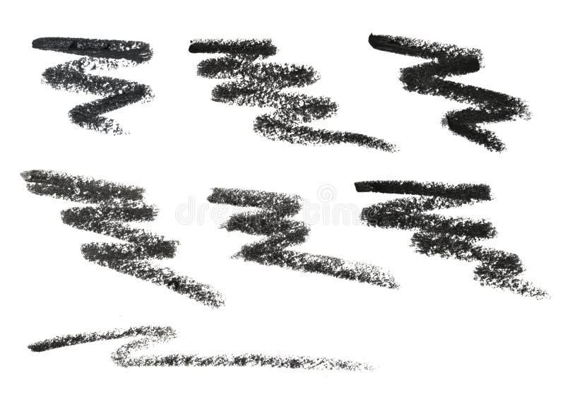 Matita della fodera dell'occhio nero Matita cosmetica e colpo isolati su bianco immagini stock