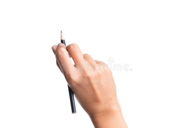 Matita della tenuta della mano della donna, scrittura, disegnare, indicante o isolata immagini stock libere da diritti