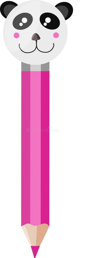 Matita di kawaii di rosa del panda dell'illustrazione di vettore illustrazione di stock