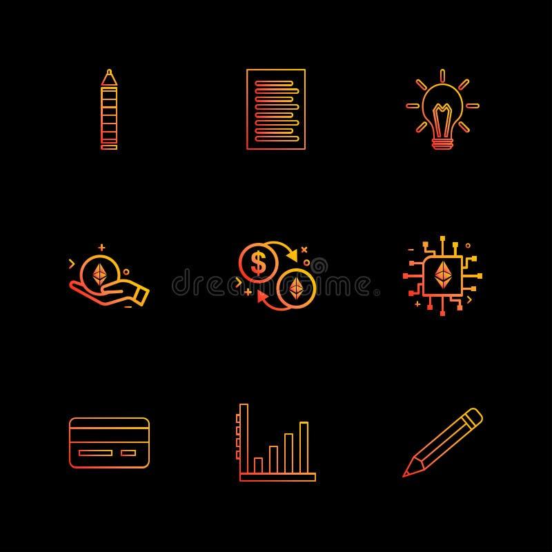 Matita, lampadina, idea, carta, documento, CI, chip, matita, g illustrazione vettoriale