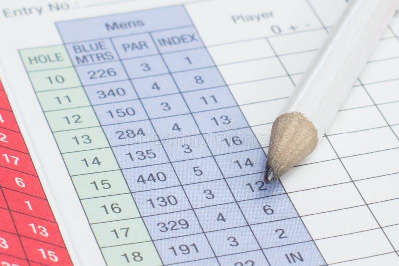 Matita sui segnapunti di golf fotografia stock
