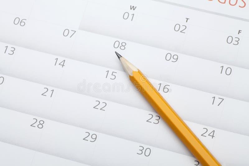matita sul calendario immagini stock