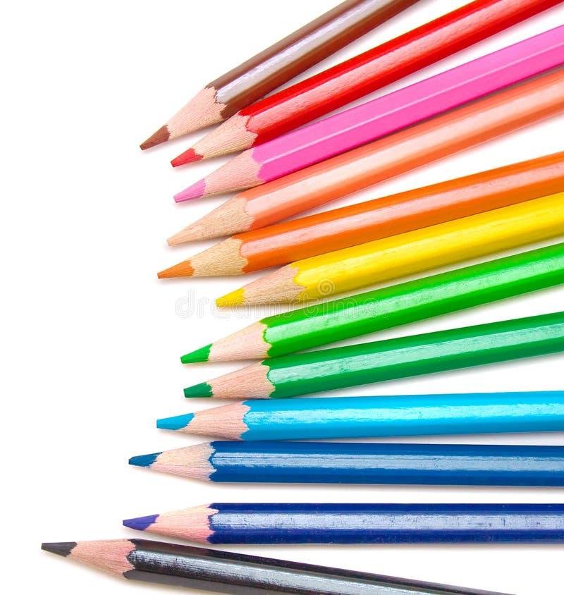 Matite colorate per il banco fotografia stock