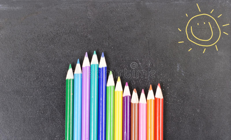 Matite colorate vacillate immagine stock