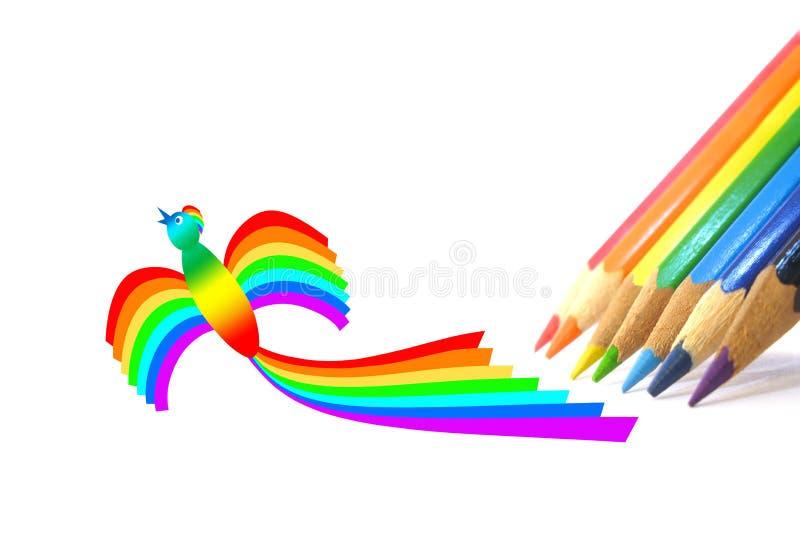 Matite di colore e un uccello-Rainbow illustrazione di stock