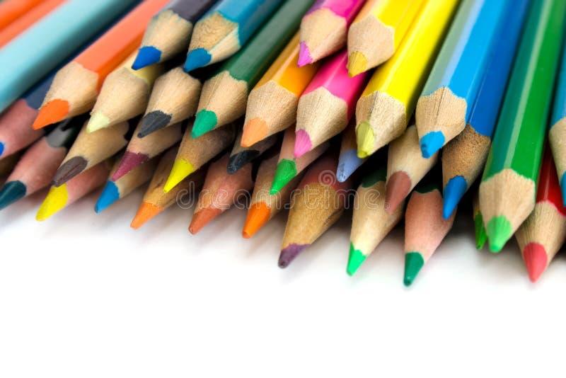 Matite di colore su bianco immagini stock