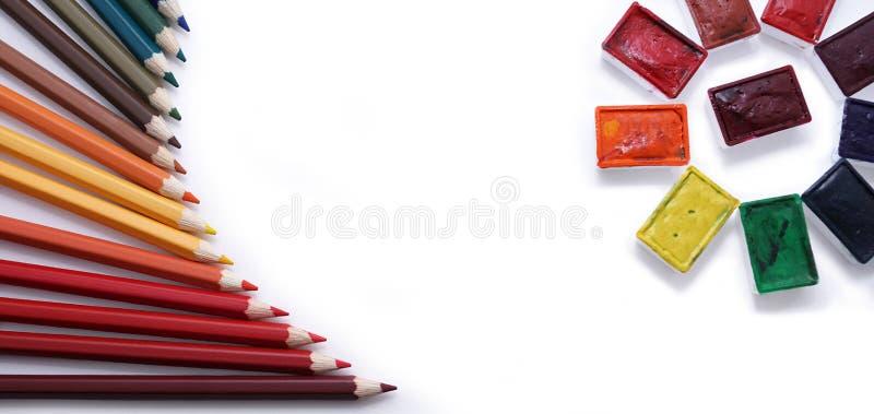matite e acquerello colorati fotografie stock