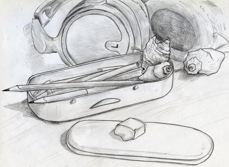 Matite e coperture sulla tavola royalty illustrazione gratis