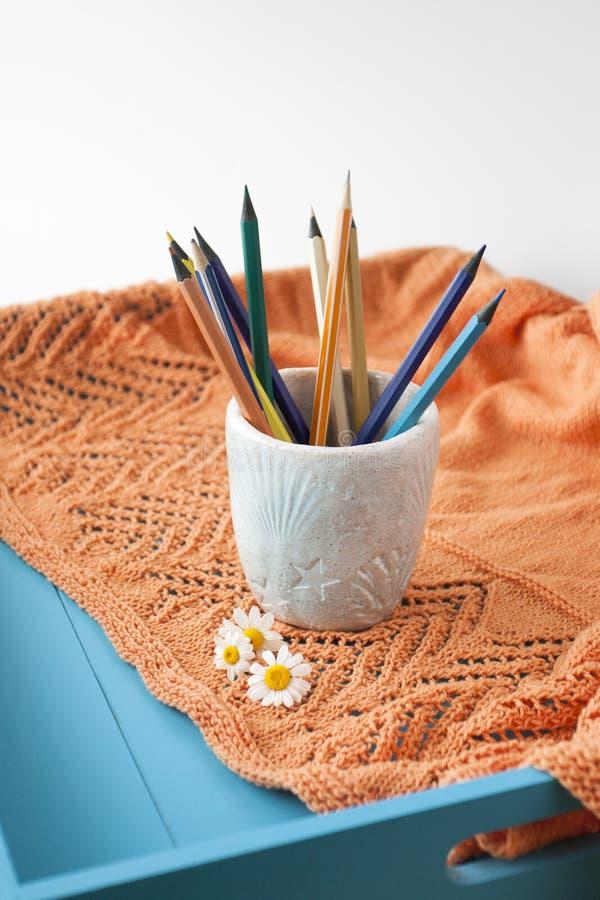 Matite luminose di legno, plaid arancio, tre fiori della camomilla fotografia stock libera da diritti