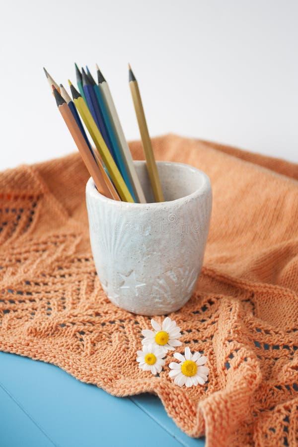 Matite luminose di legno, plaid arancio, tre fiori della camomilla fotografia stock
