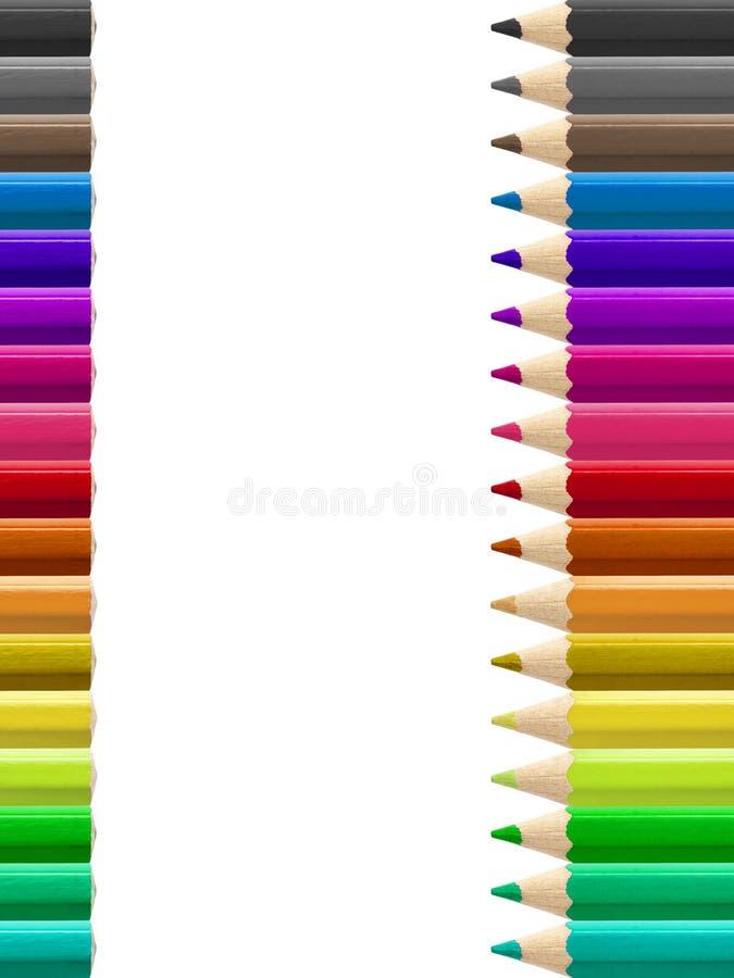 Matite multicolori della pagina isolate fotografia stock libera da diritti