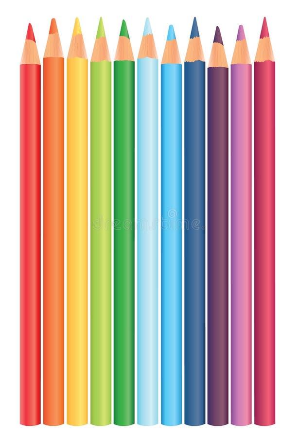 Matite multicolori in un grezzo, vettore illustrazione di stock