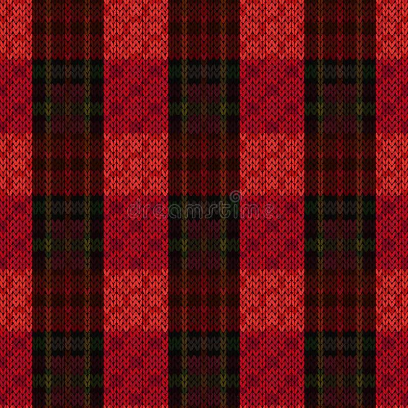 Matiz vermelhas e verdes da obscuridade sem emenda de confecção de malhas do teste padrão - ilustração stock