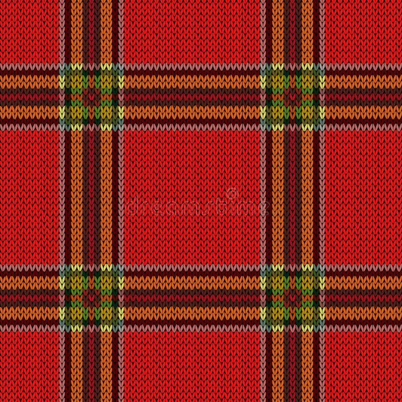 Matiz vermelhas e verdes da obscuridade sem emenda de confecção de malhas do teste padrão - ilustração do vetor