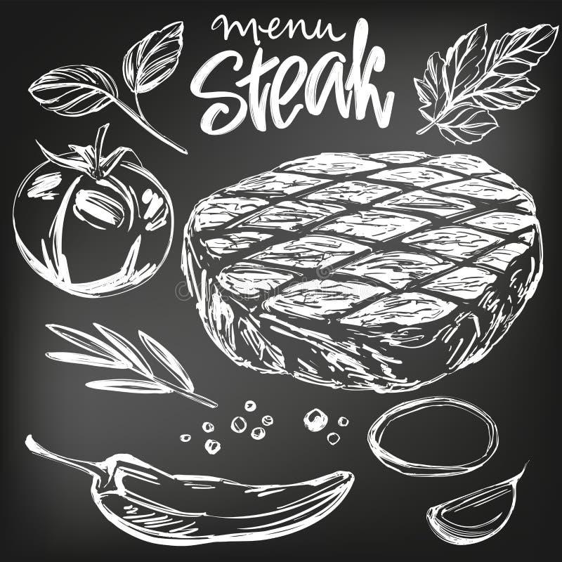 Matkött, biff, stek, grönsakuppsättningen, hand drog den realistiska vektorillustrationen skissar, dragit i krita på en svart royaltyfri illustrationer