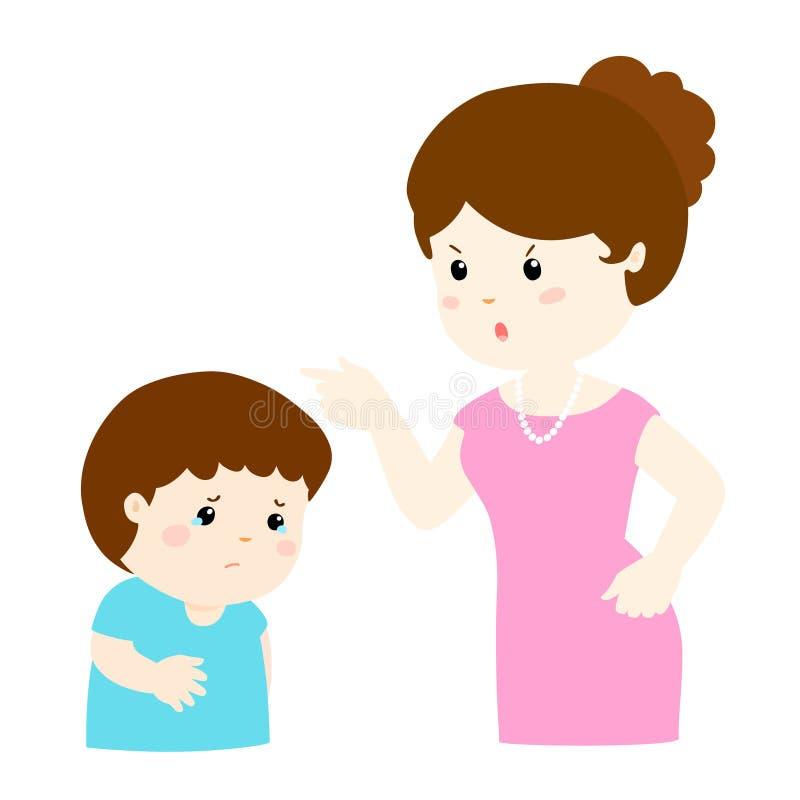Matka łaja jej syna postać z kreskówki ilustracja wektor