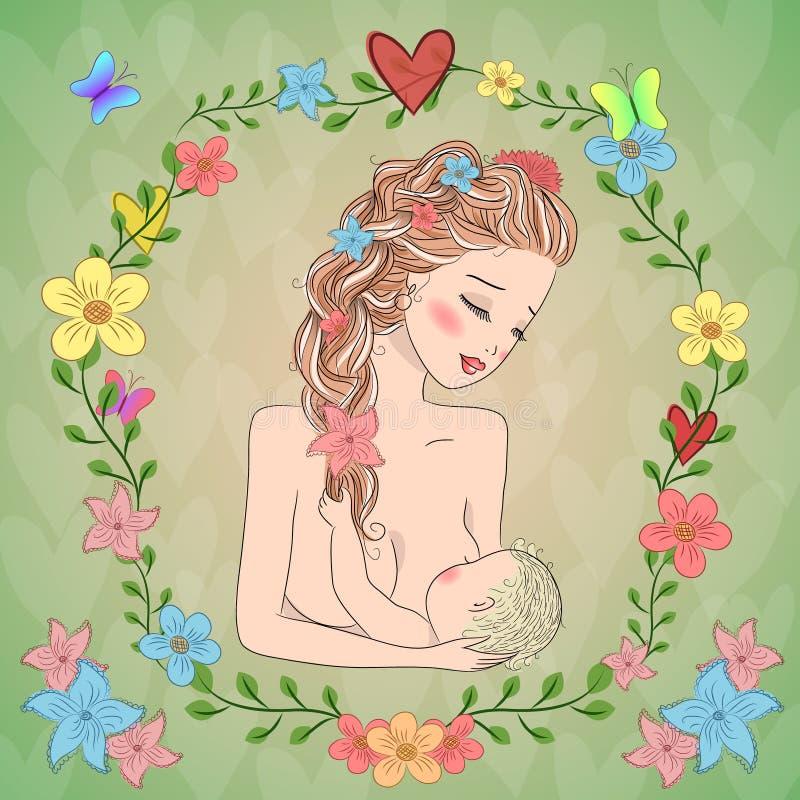 Matka breastfeeding royalty ilustracja