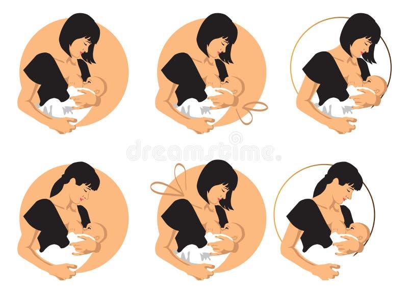 Matka breastfeeds dziecka royalty ilustracja