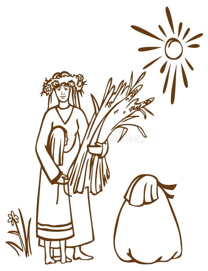 Matka, córka, żyto i słońce, ilustracji