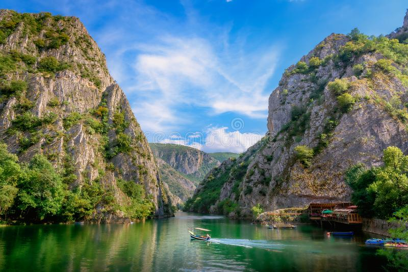 Matka canyon in Macedonia. Near Skopje, boat on the lake. Visit the beautiful places in the world, experience and learn what travel teaches royalty free stock photo