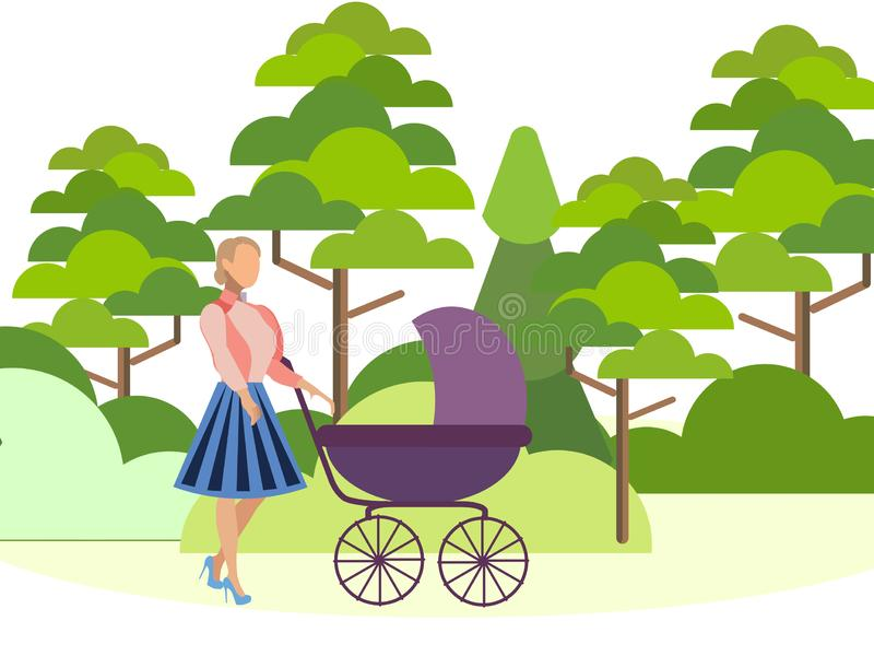 Matka chodzi w lesie z dziecko frachtem Może używać dla sieć sztandaru, infographics, bohaterów wizerunki W minimalisty stylu royalty ilustracja