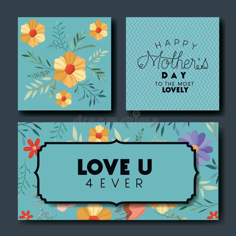 Matka dnia chrzcielnicy ręcznie robiony pocztówki ustawiać ilustracja wektor