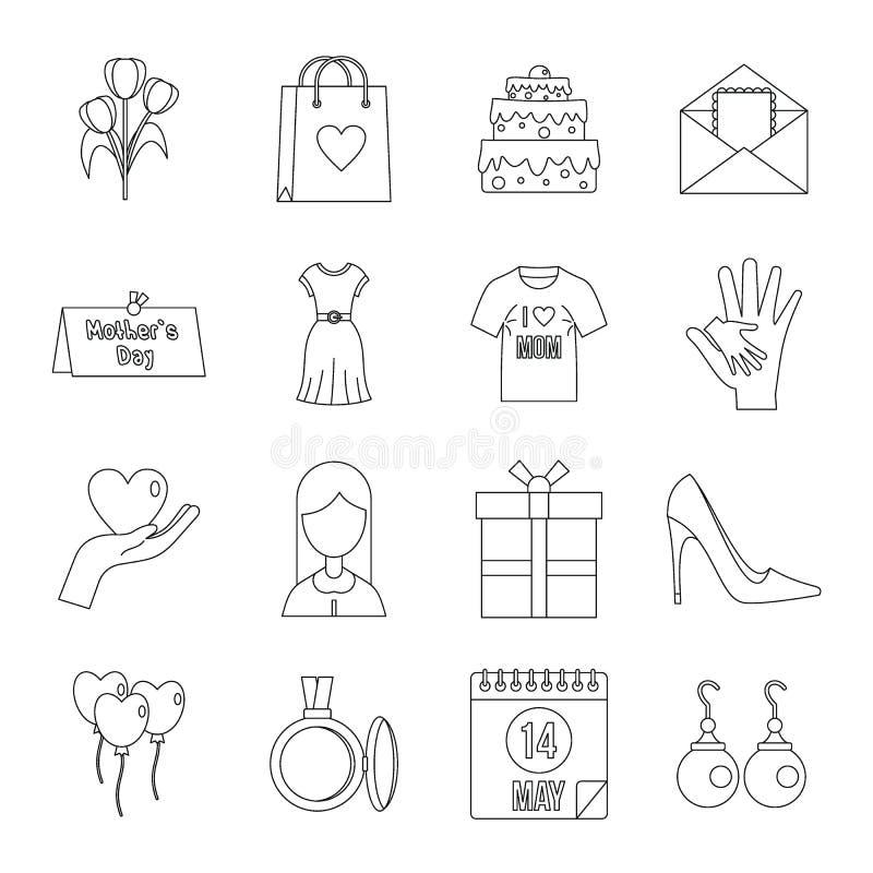 Matka dnia ikony ustawiać, konturu styl ilustracja wektor