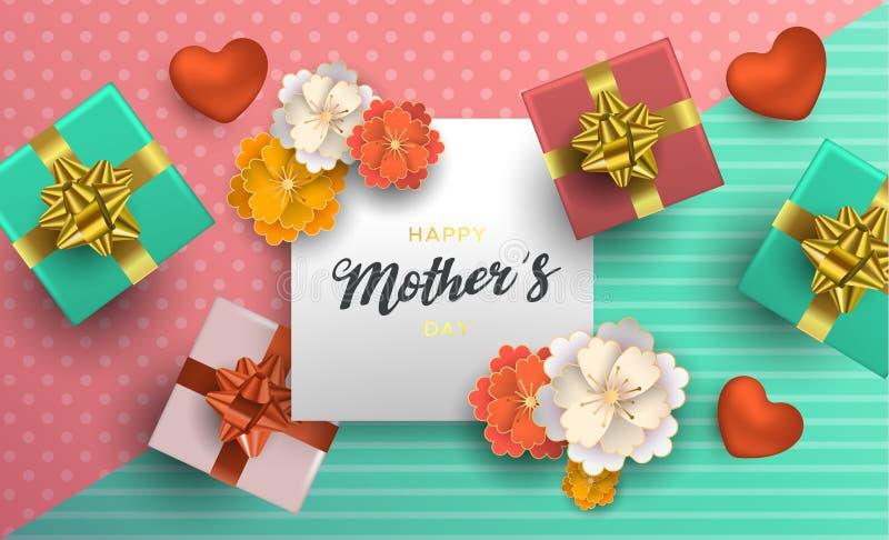 Matka dnia karta kwiat dekoracja dla mama prezenta royalty ilustracja