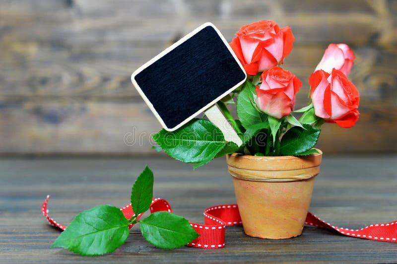 Matka dnia karta z czerwonymi różami i pustym blackboard zdjęcie royalty free